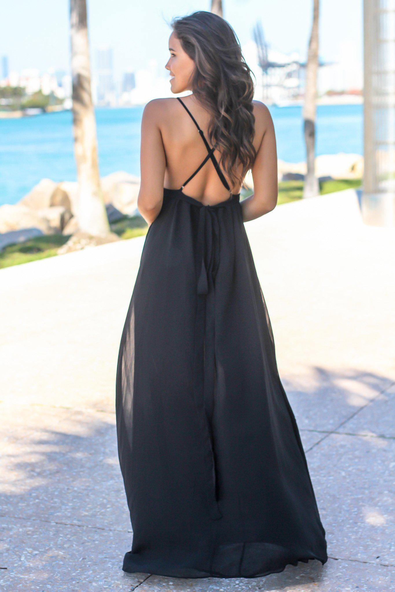Black Maxi Dress with Criss Cross Back and Lace Detail