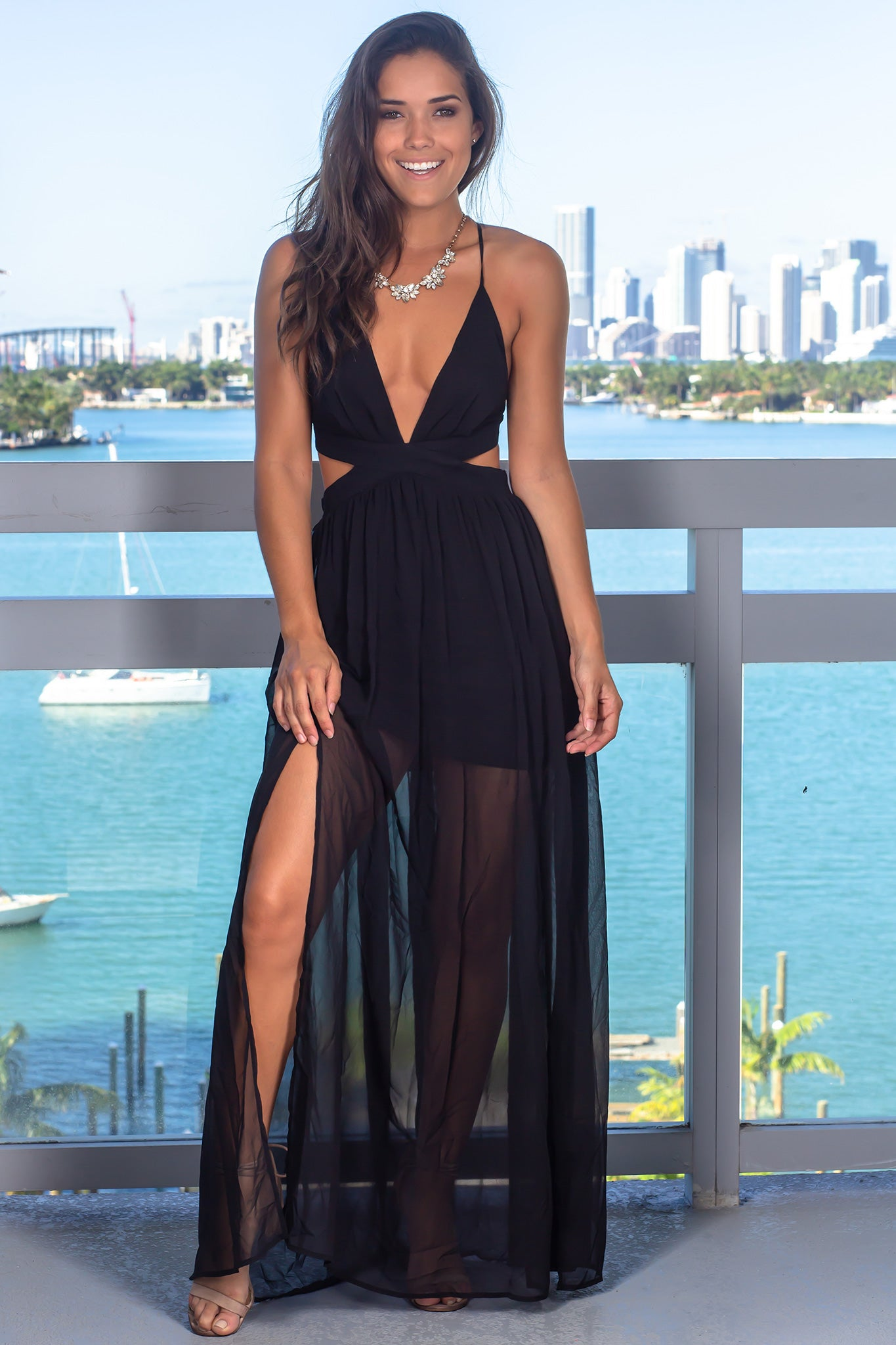 Black Maxi Dress with Cut Outs