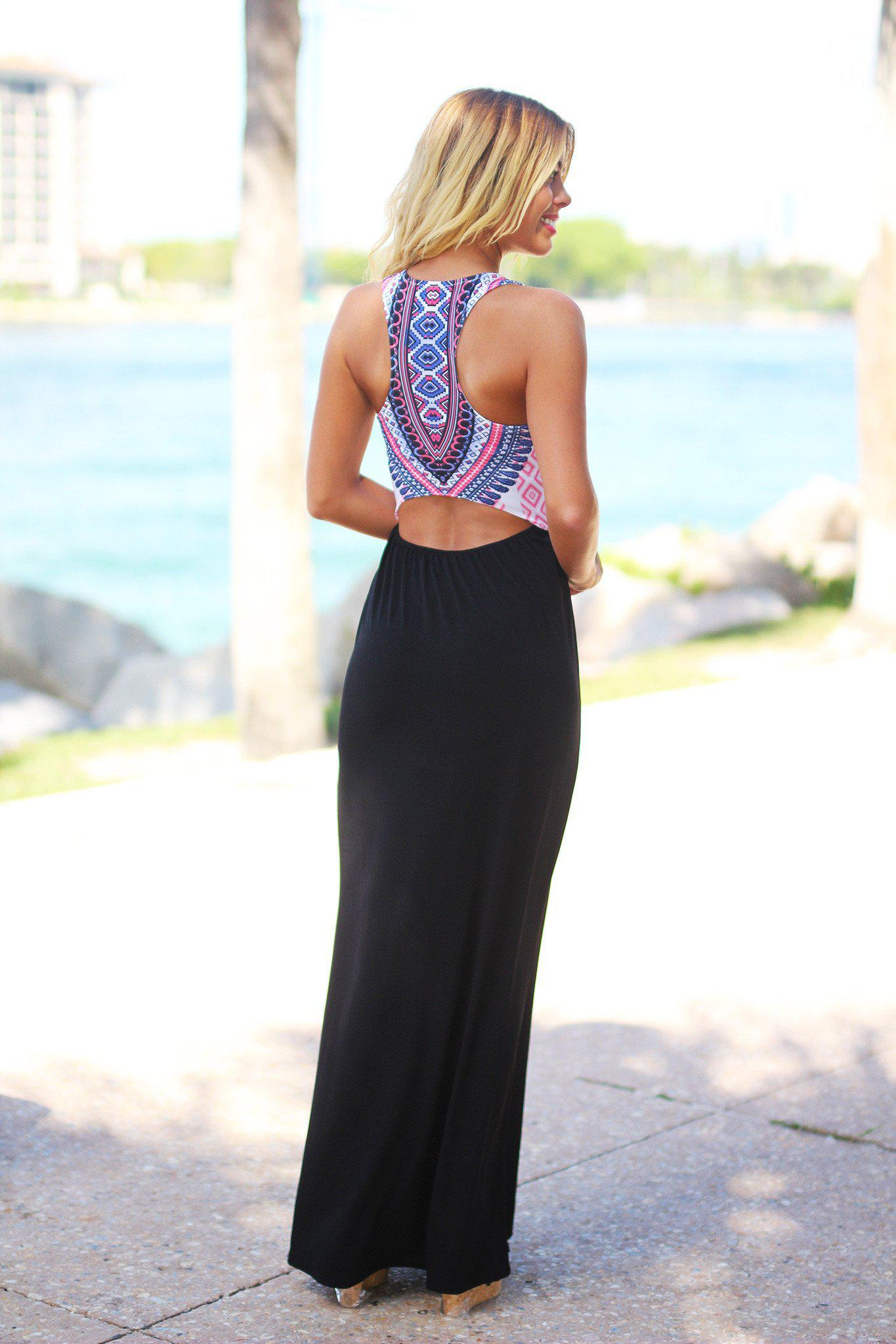 Black Tribal Maxi Dress with Cutout Back