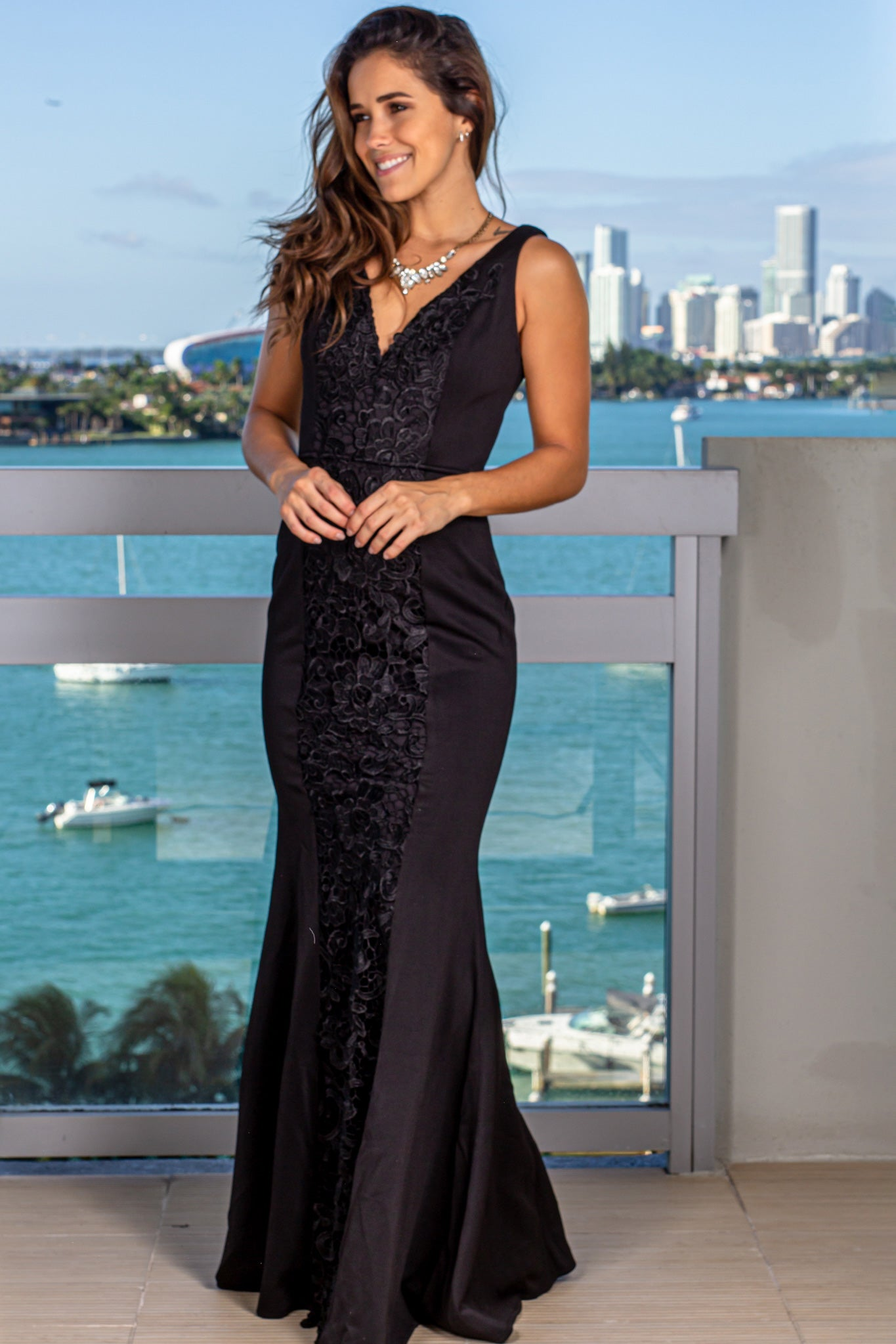 Black Maxi Dress with Embroidered Detail