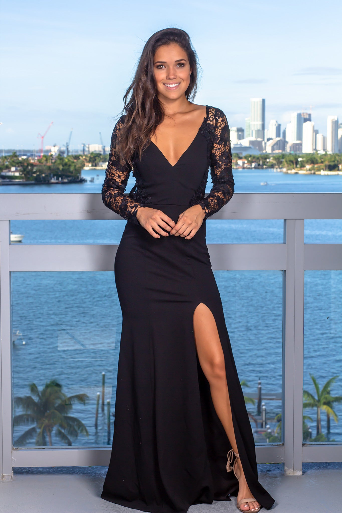 8d42989d2e1e Black Maxi Dress with Embroidered Sleeves