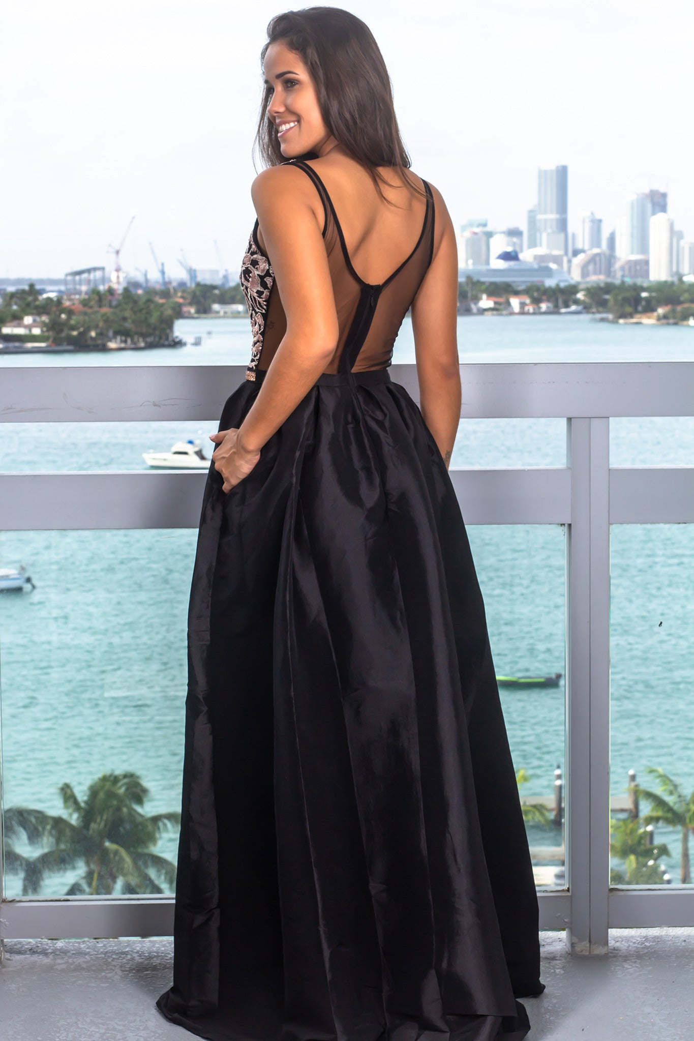 Black Maxi Dress with Embroidered Top and Jewel Detail