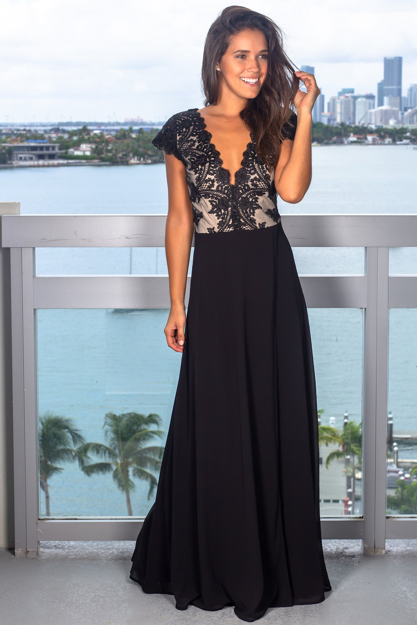 Black Maxi Dress with Embroidered Top and Slit