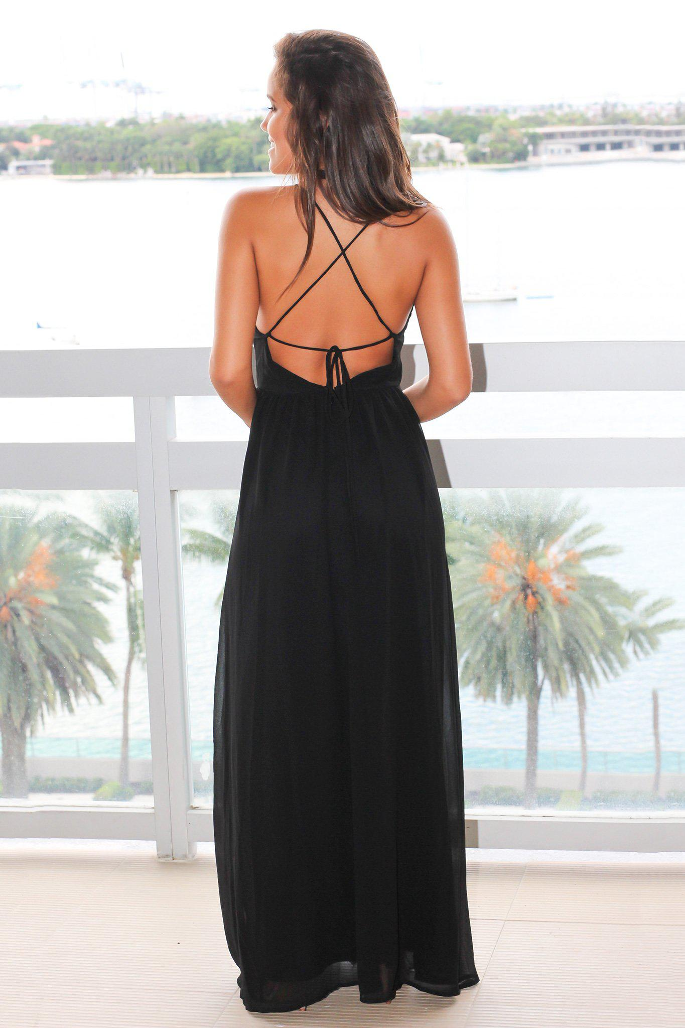 Black Maxi Dress with Floral Embroidery