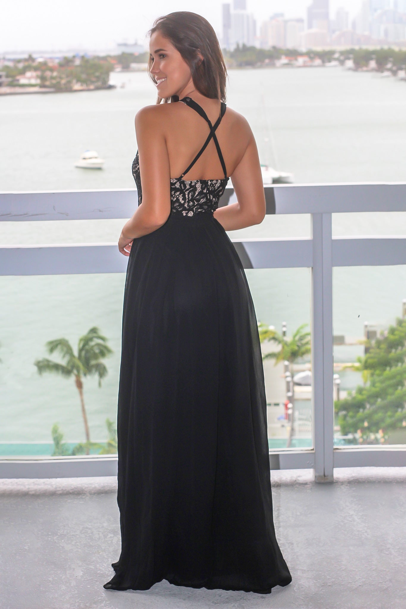 Black Maxi Dress with Halter Neck Lace Top
