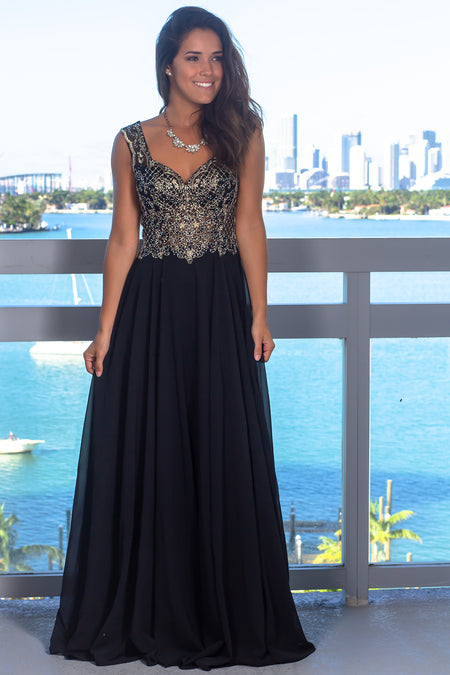 Black Maxi Dress with Jewel Embroidered Top