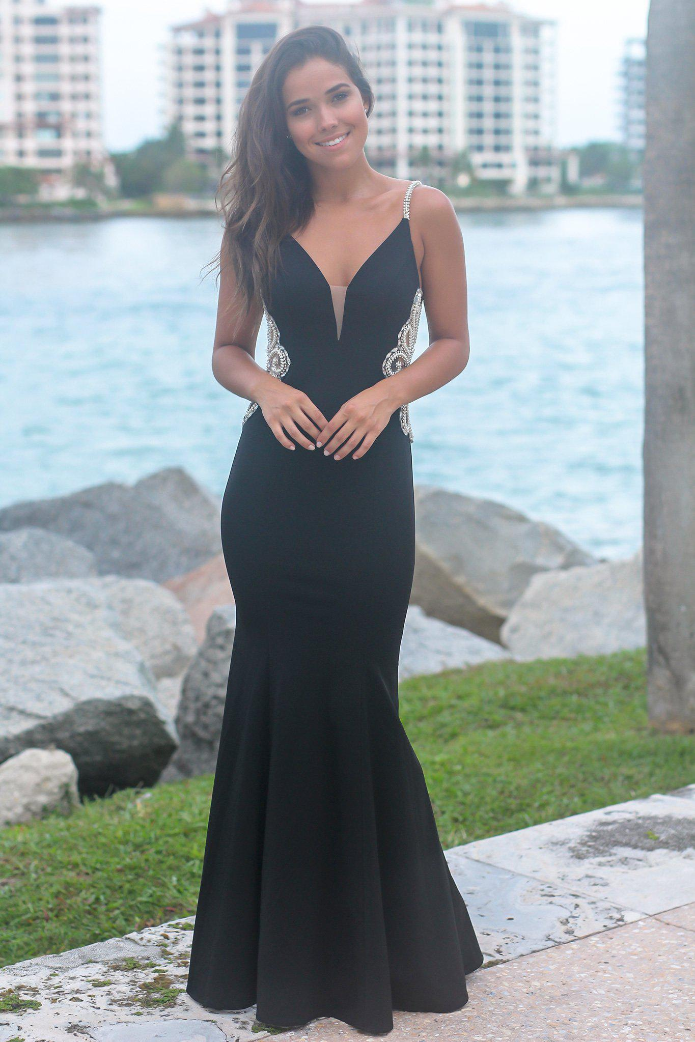 Black Maxi Dress with Jeweled Detail