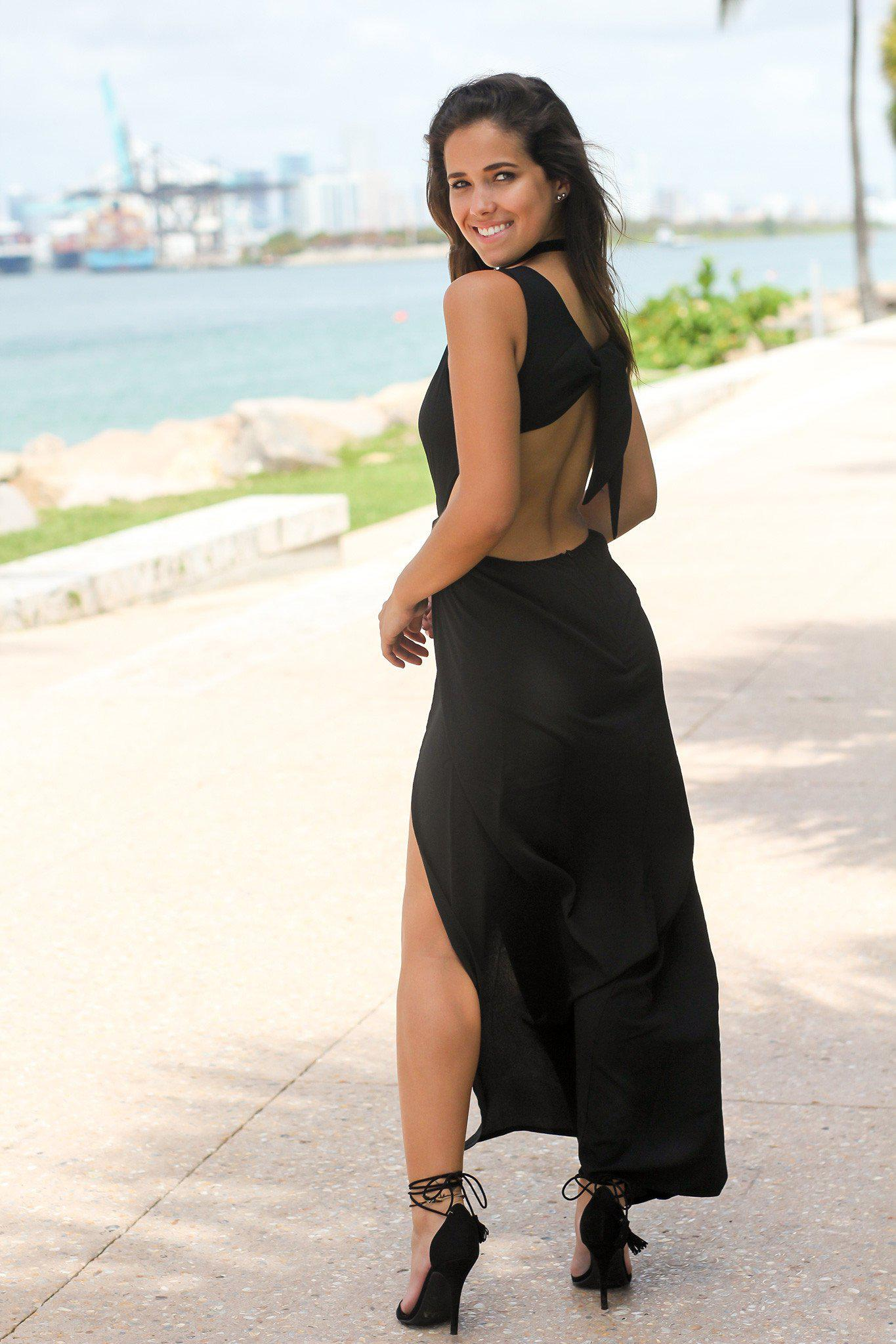 Black Maxi Dress with Open Back and Knot