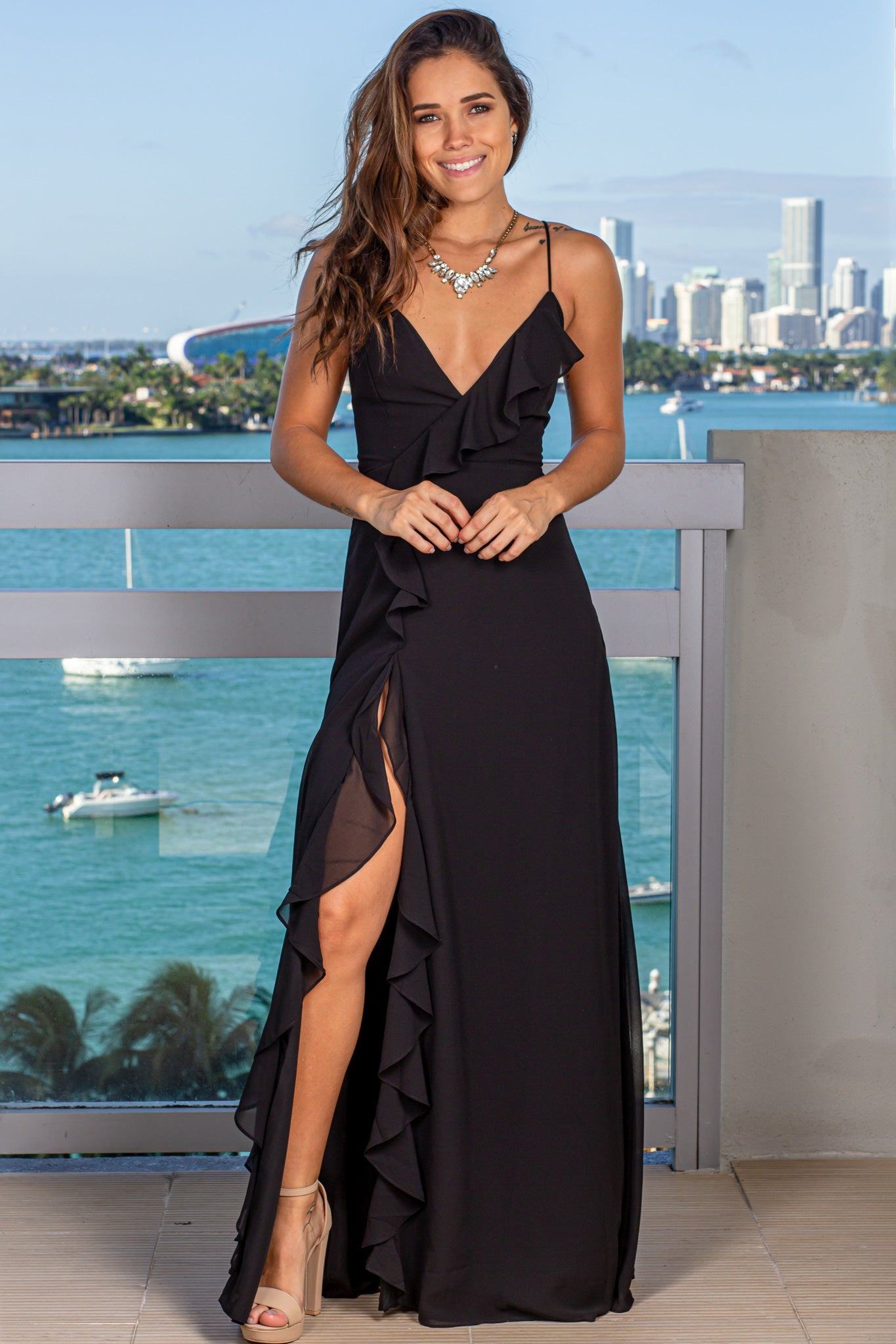 Black Maxi Dress with Ruffle Detail