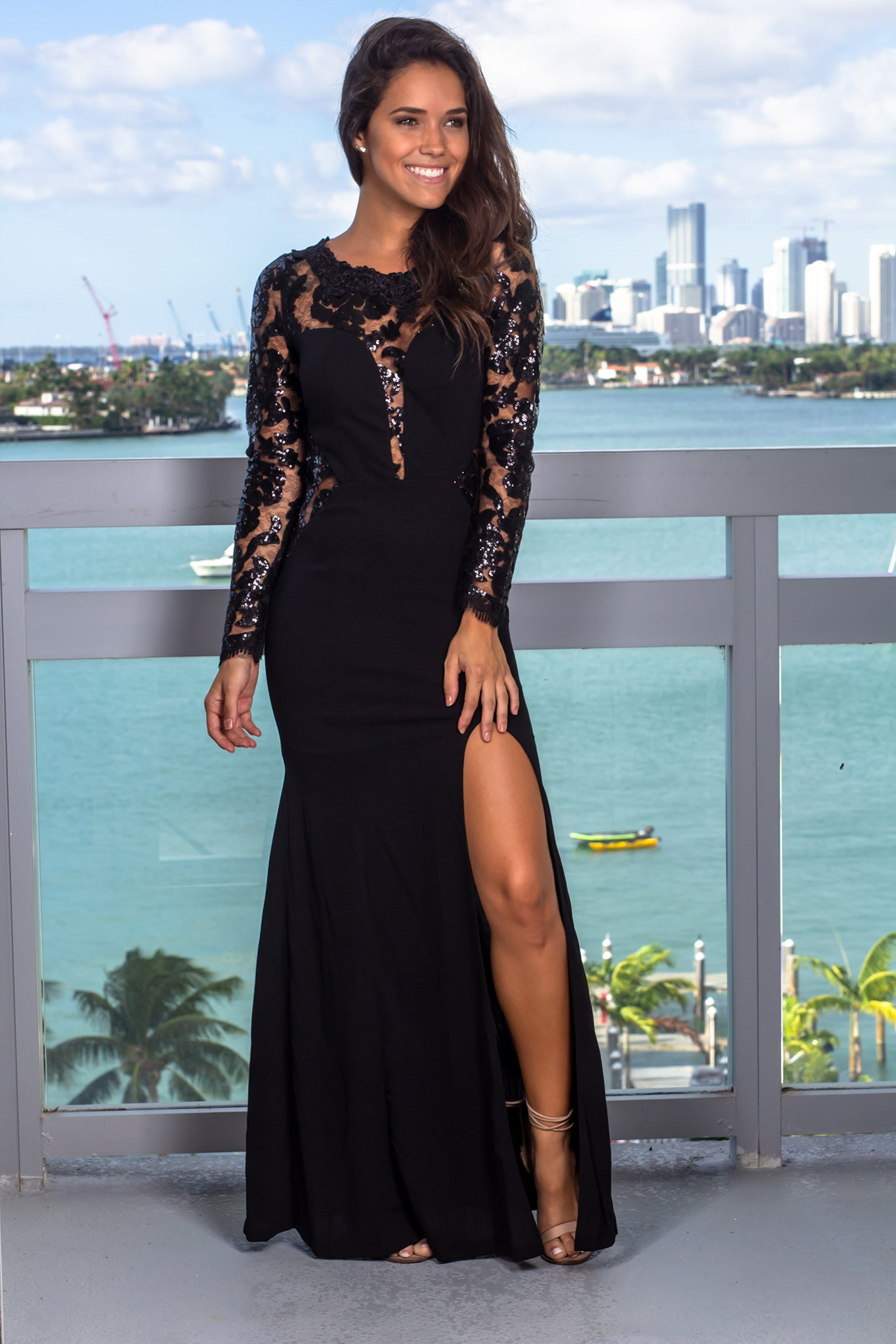 Black Maxi Dress with Sequin Sleeves