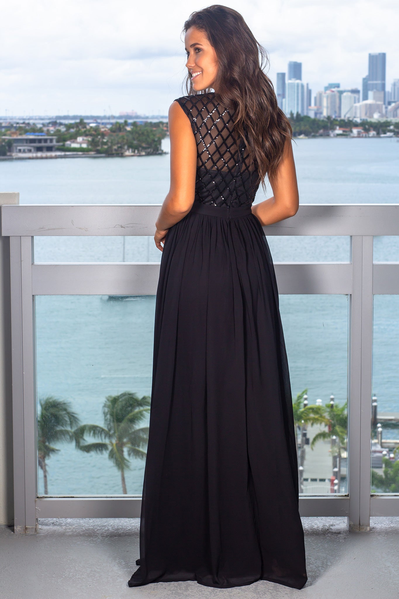 Black Maxi Dress with Sequin Top