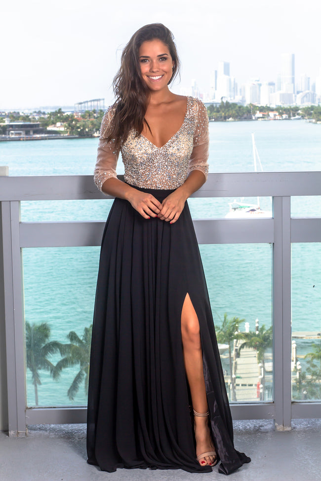 Black Maxi Dress with Silver Jewels and 3/4 Sleeves
