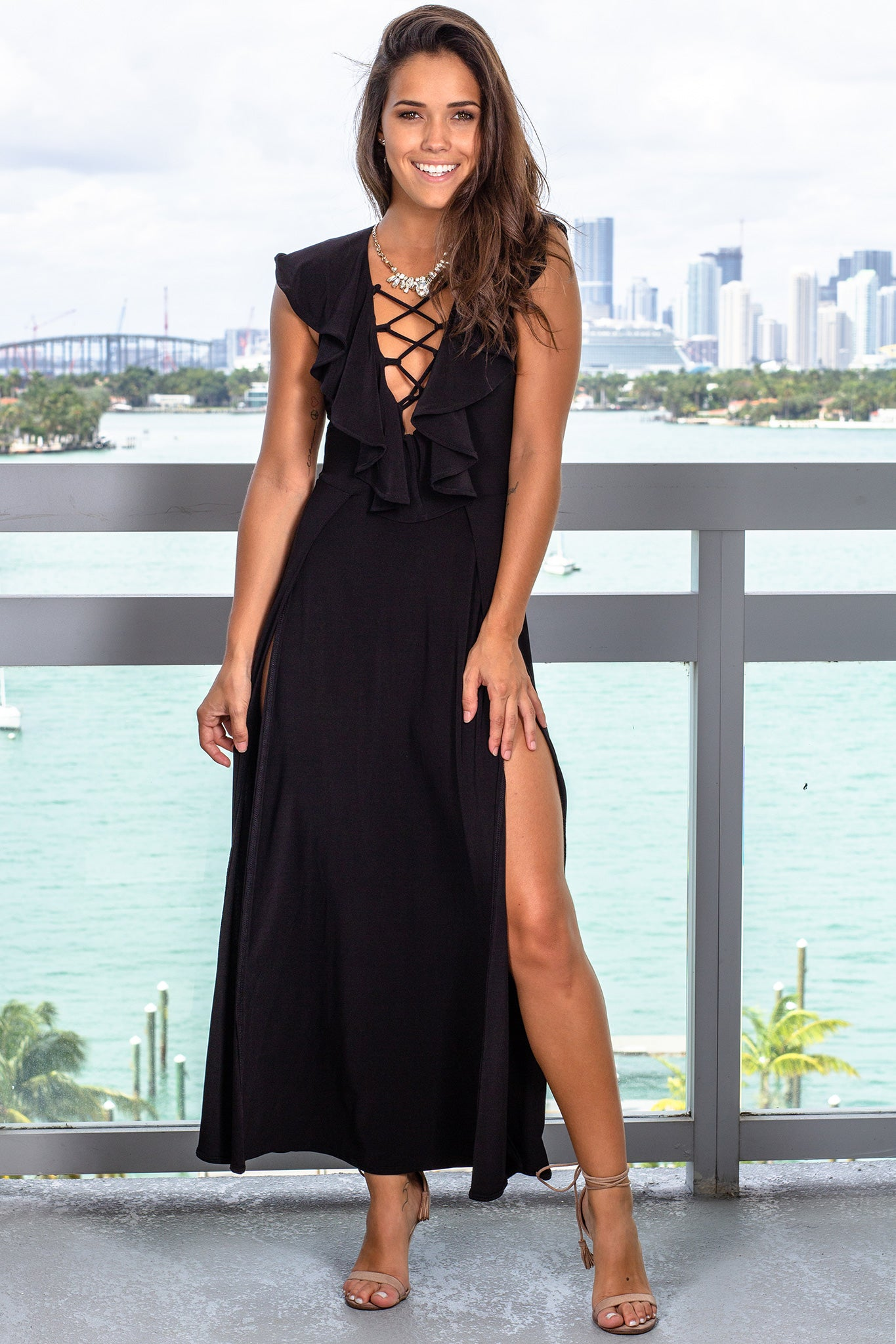 Black Maxi Dress with Slits
