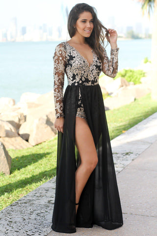 Black and Cream Long Sleeve Maxi Romper