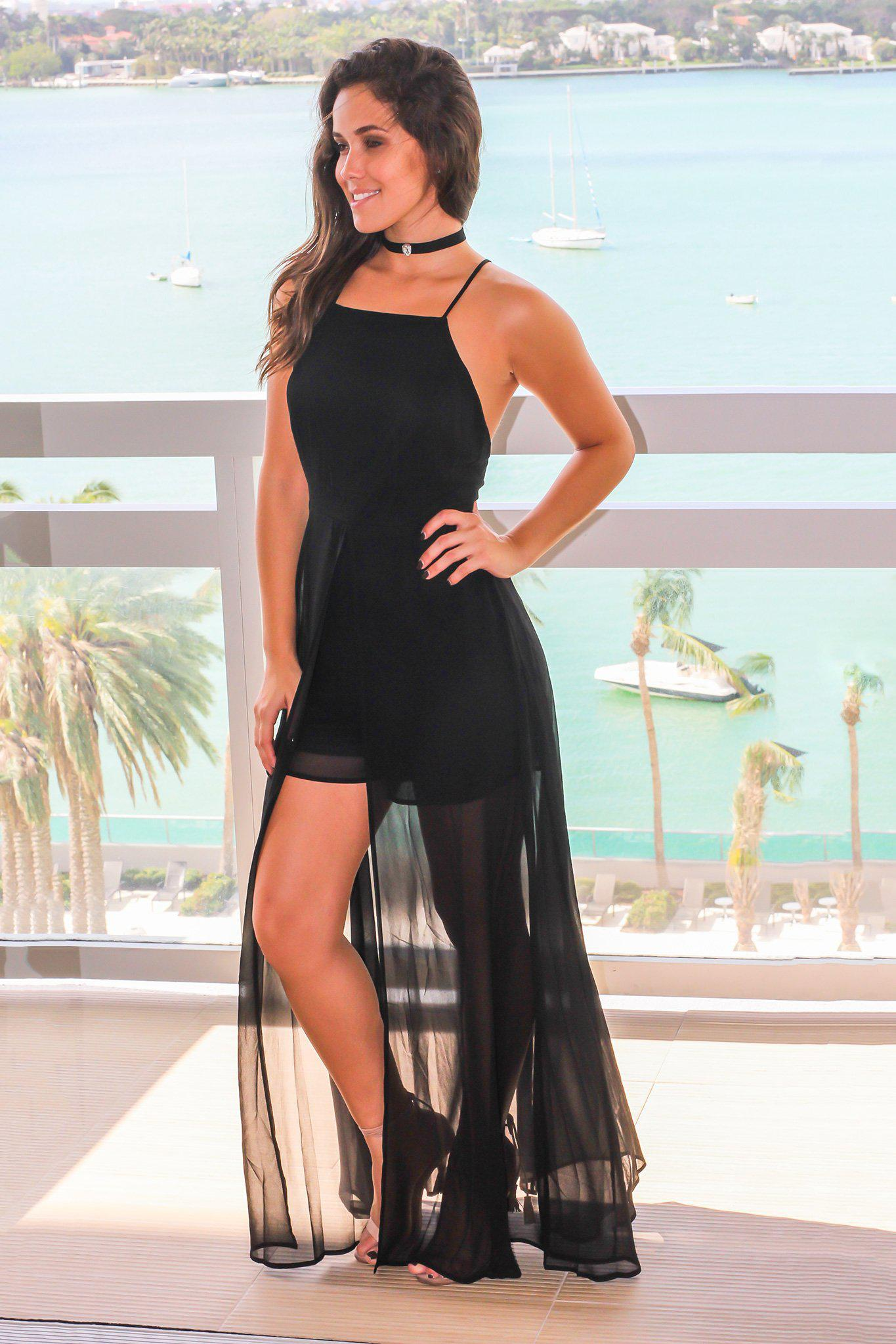 Black Maxi Romper with Criss Cross Back