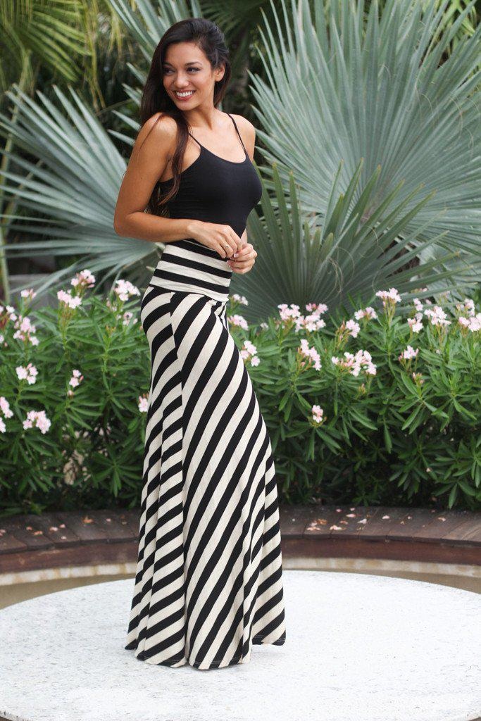 Black Striped Maxi Skirt