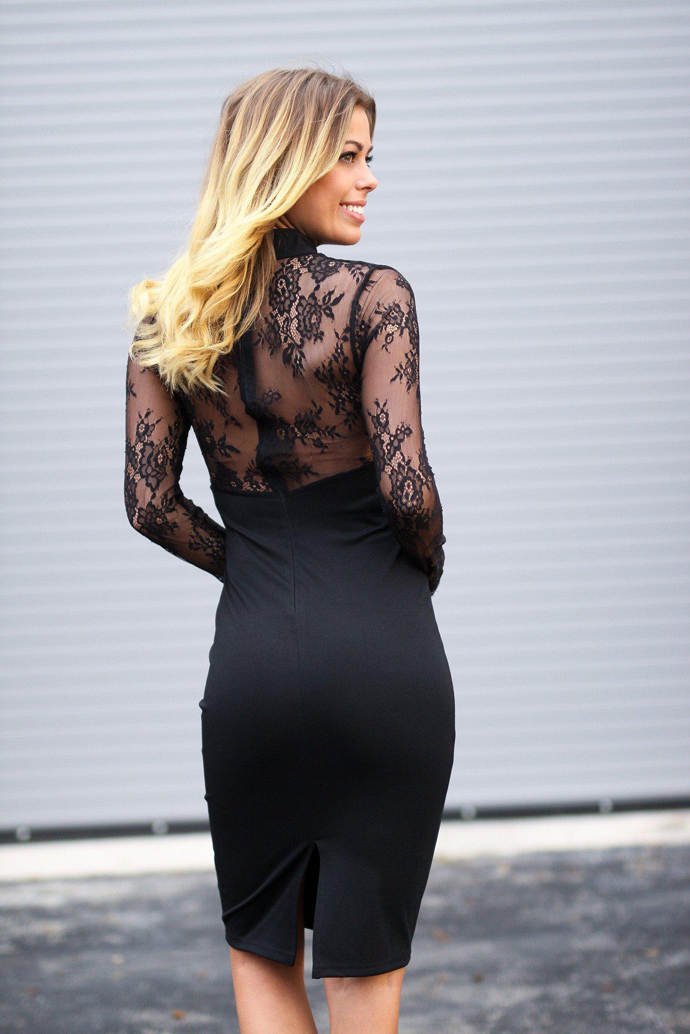 Black Mock Neck Lace Dress
