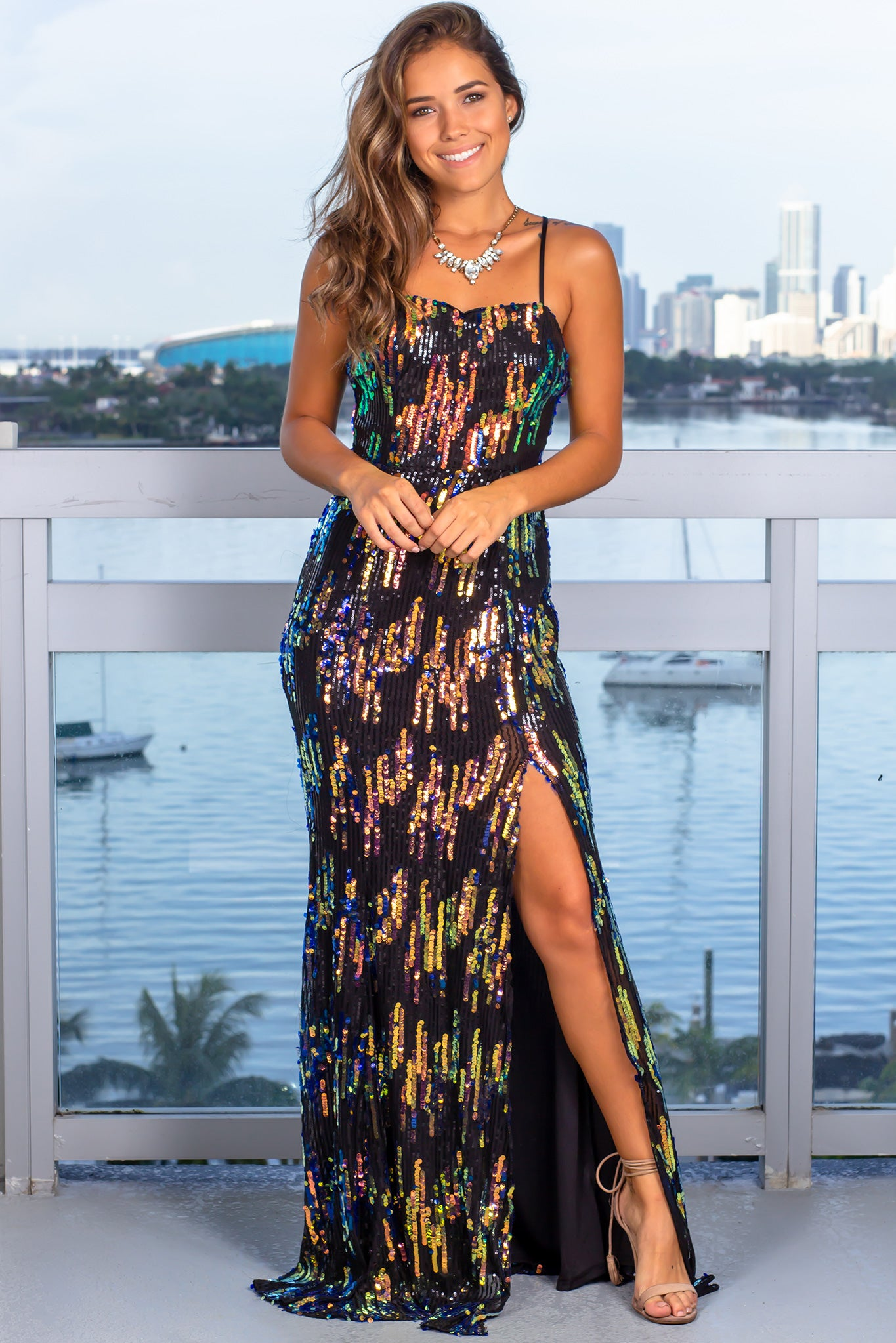 Black Multi Colored Sequin Maxi Dress