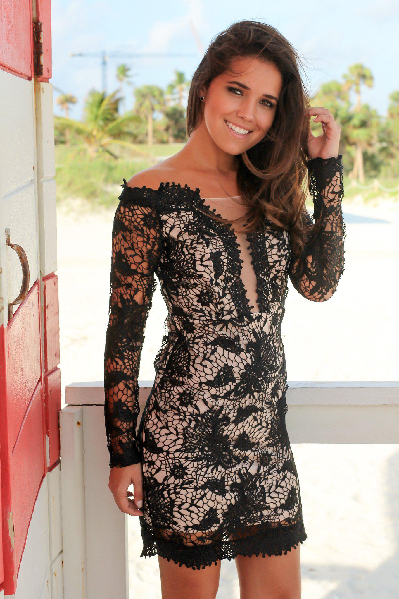 Black Off Shoulder Crochet Short Dress
