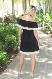 Black Off Shoulder Dress With Crochet Trim