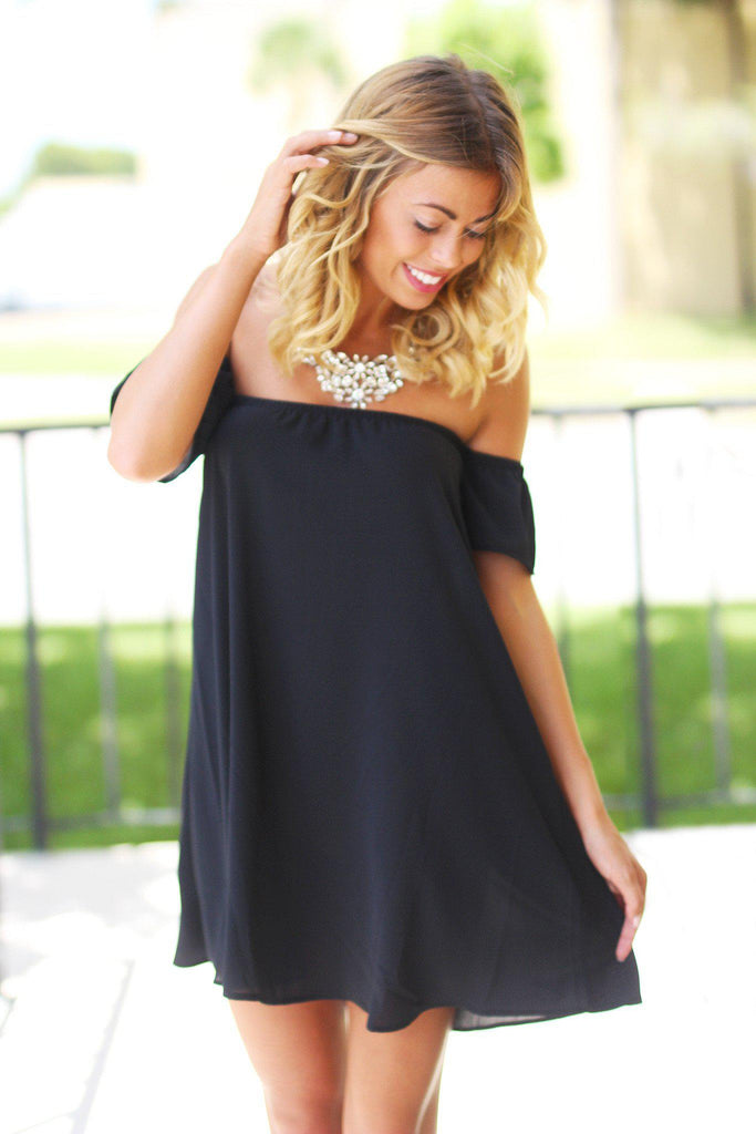 Black Off Shoulder Dress with Short Sleeves