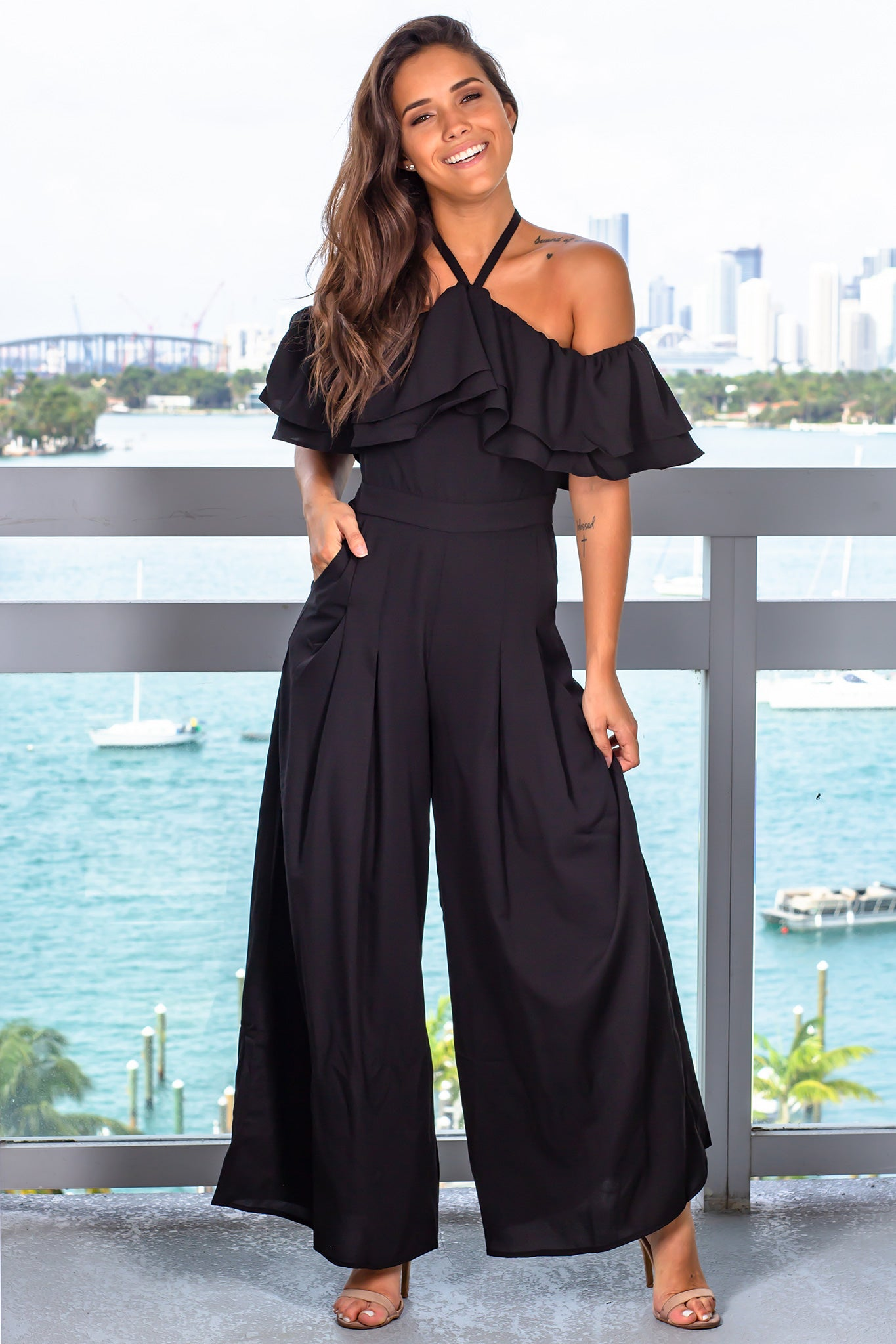 Black Off Shoulder Jumpsuit with Pockets