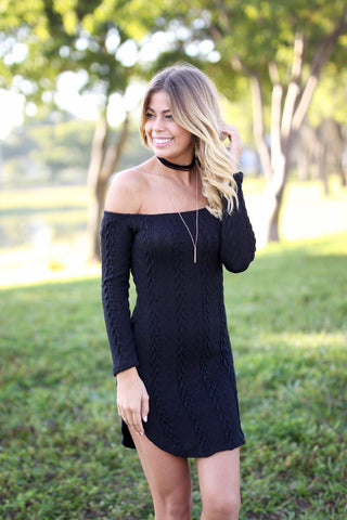 Black Off Shoulder Knit Dress