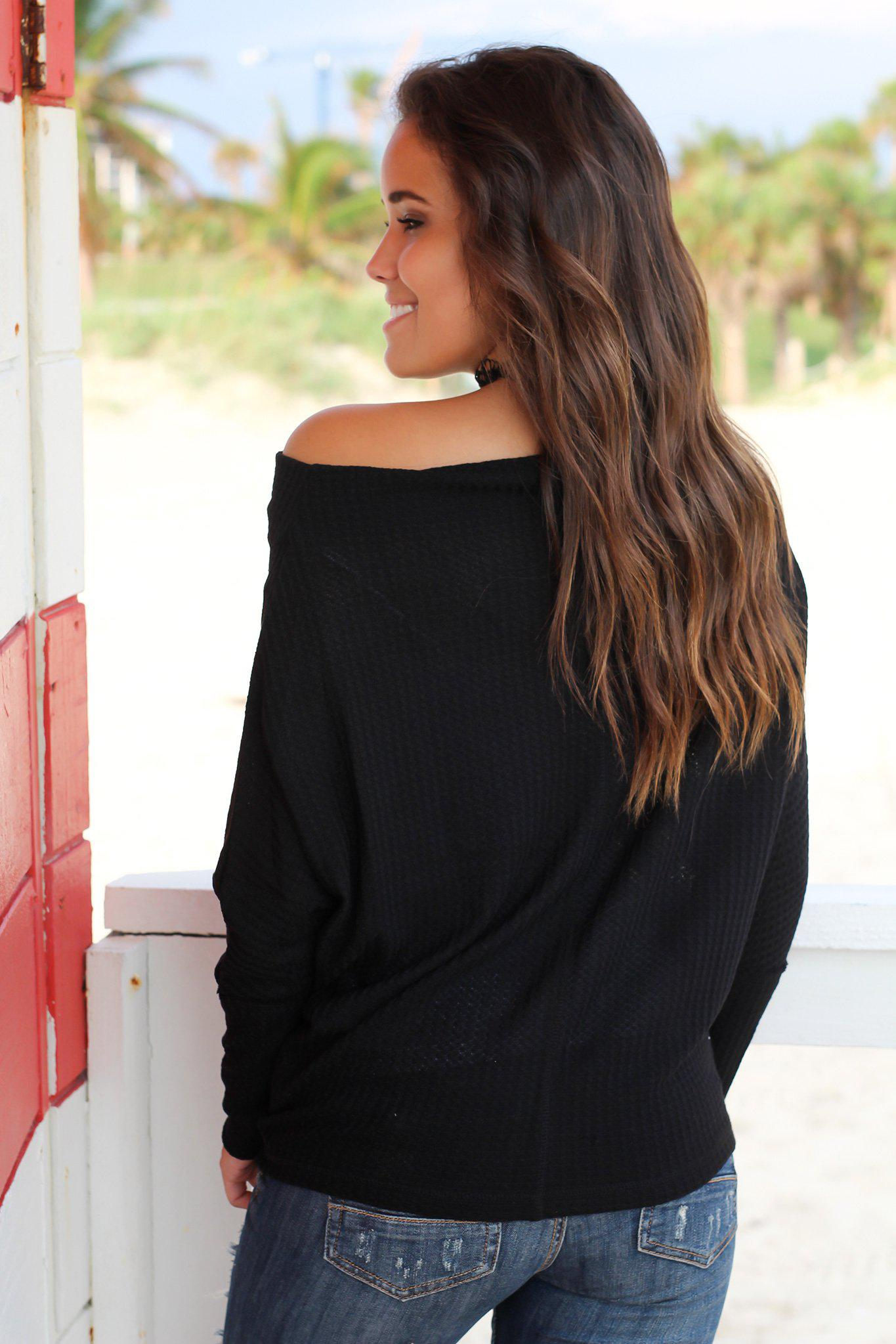 Black Off Shoulder Knit Top