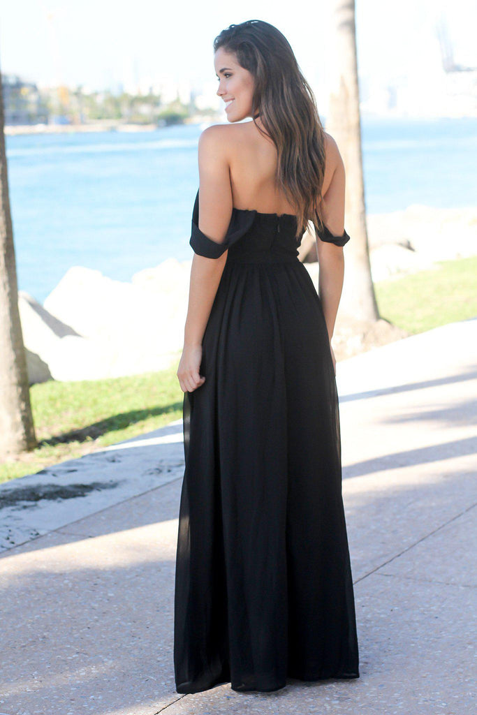 Black Off Shoulder Maxi Dress with Embroidered Top