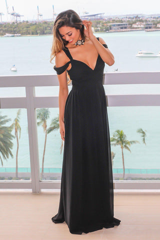 Black Off Shoulder Maxi Dress with Pleated Top