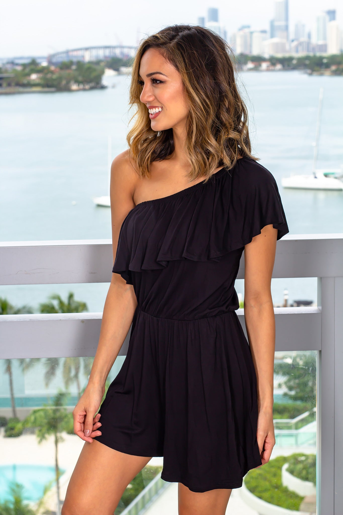 Black Off Shoulder Ruffled Romper