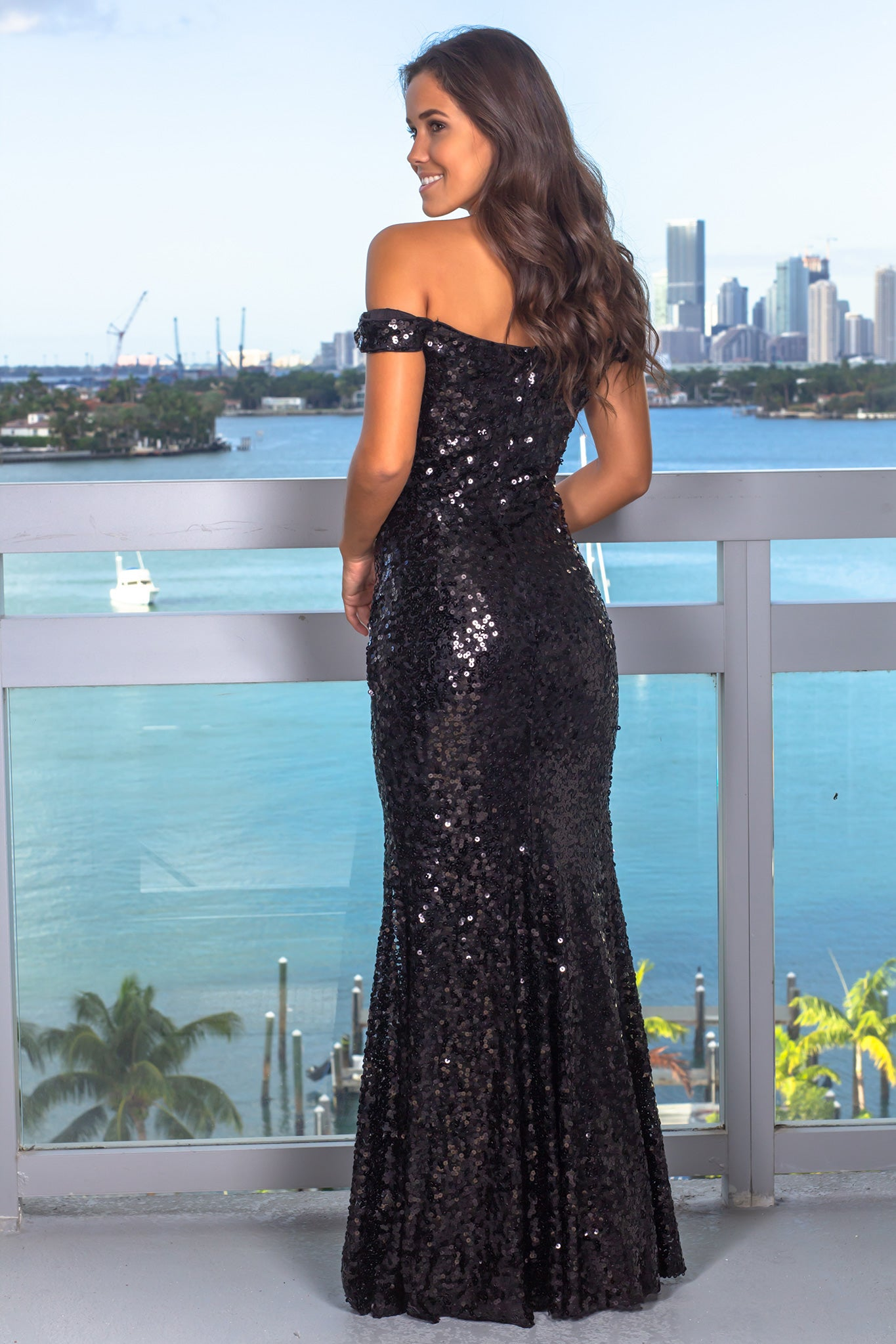 Black Off Shoulder Sequin Maxi Dress