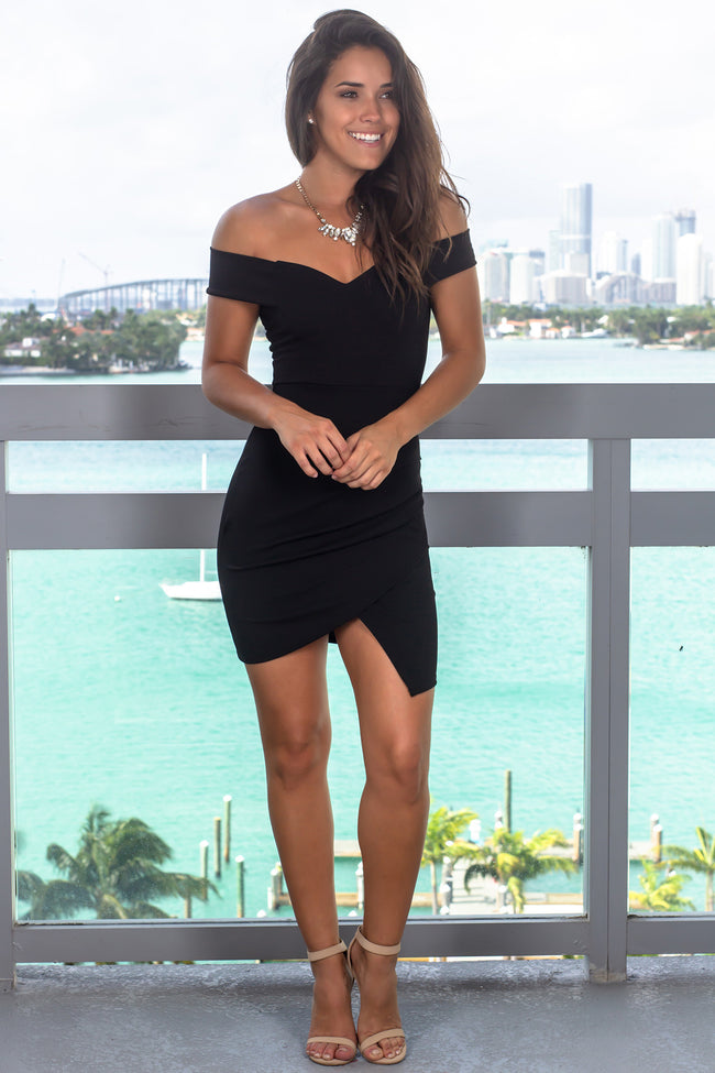 Black Off Shoulder Short Dress with Ruched Side