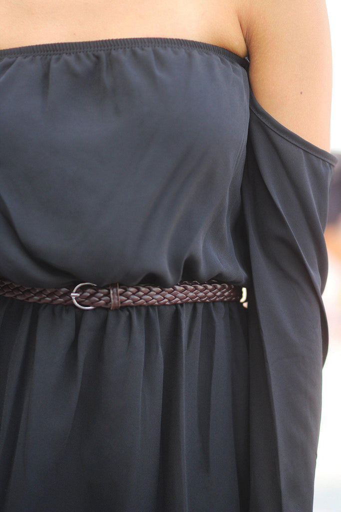 black bell sleeve dress with belt
