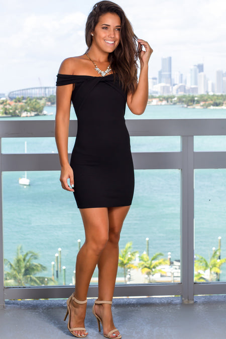 Black Off Shoulder Short Dress with Twist Detail