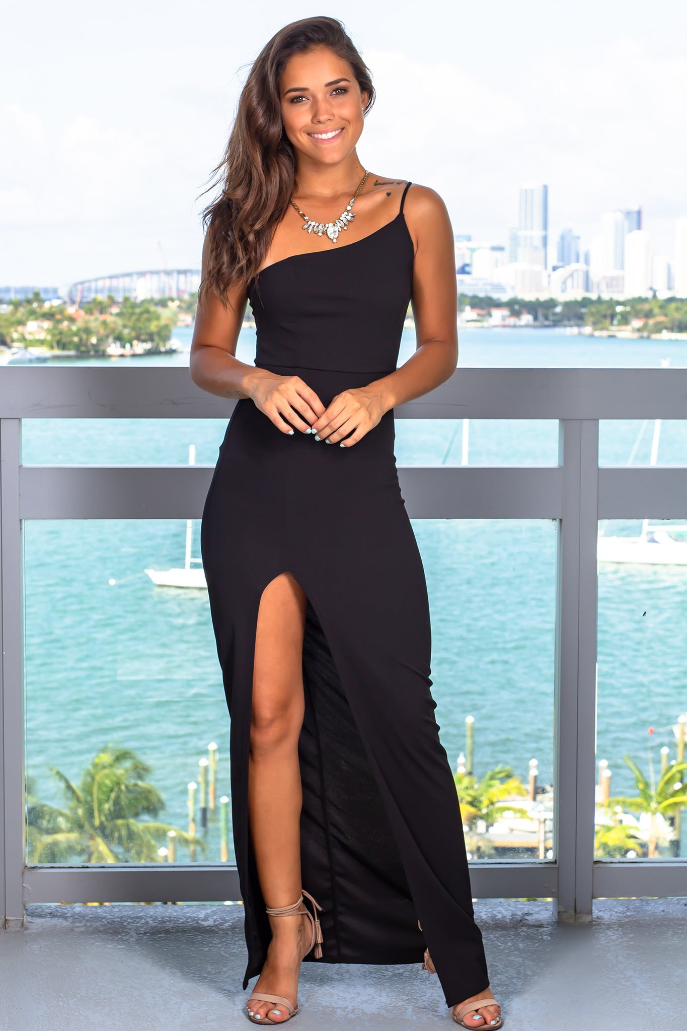 Black One Strap Maxi Dress