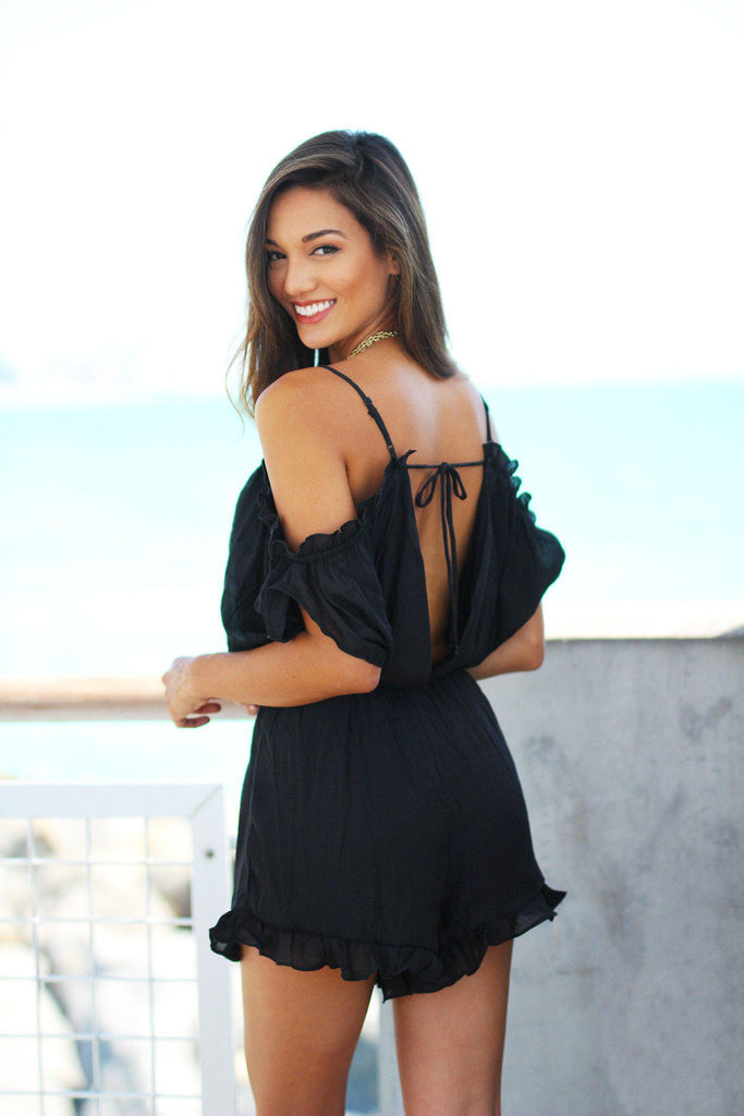 black open shoulder romper