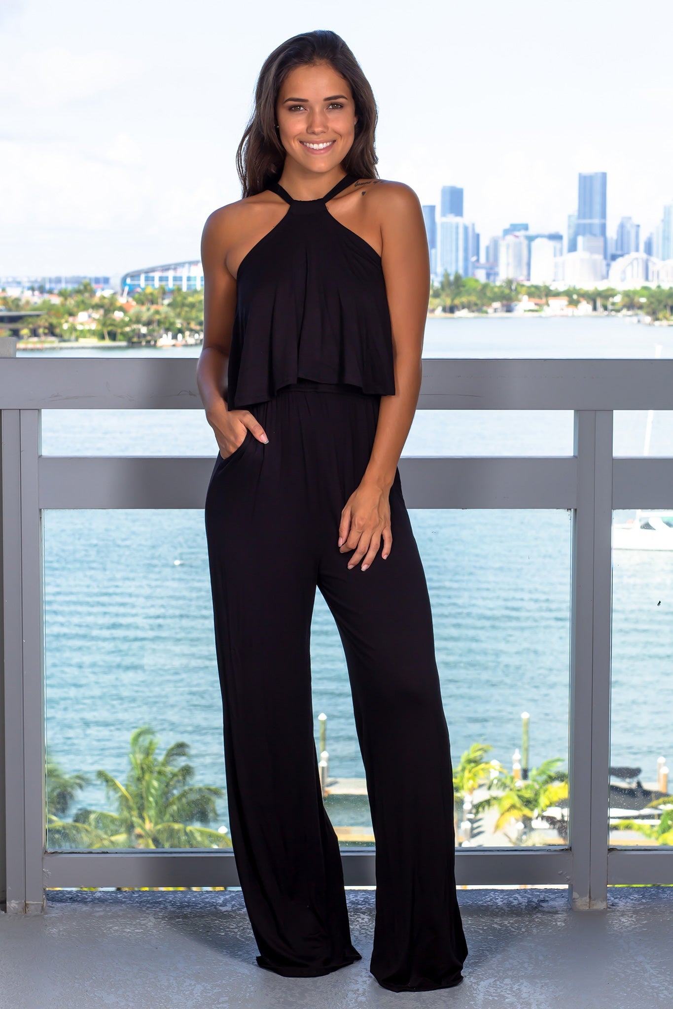Black Open Shoulder Jumpsuit