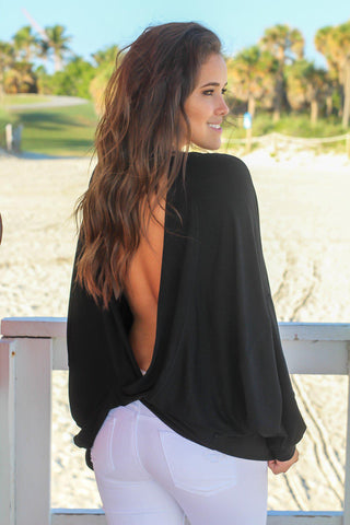 Black Oversized Top with Open Back