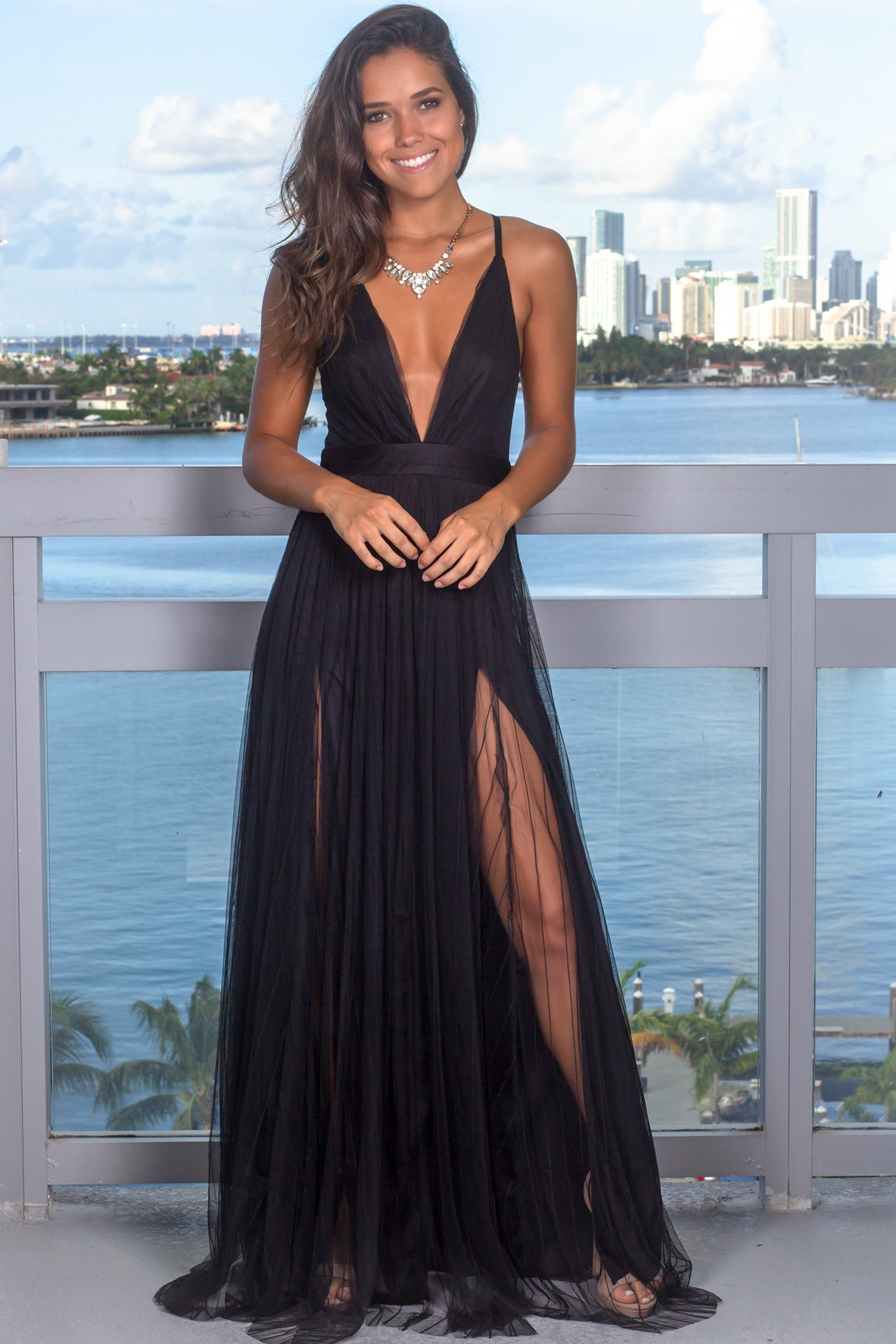 Black Pinstripe Tulle Maxi Dress with Criss Cross Back