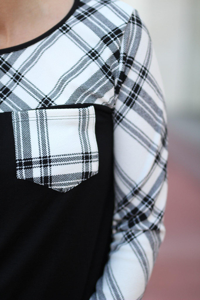 plaid top with front pocket
