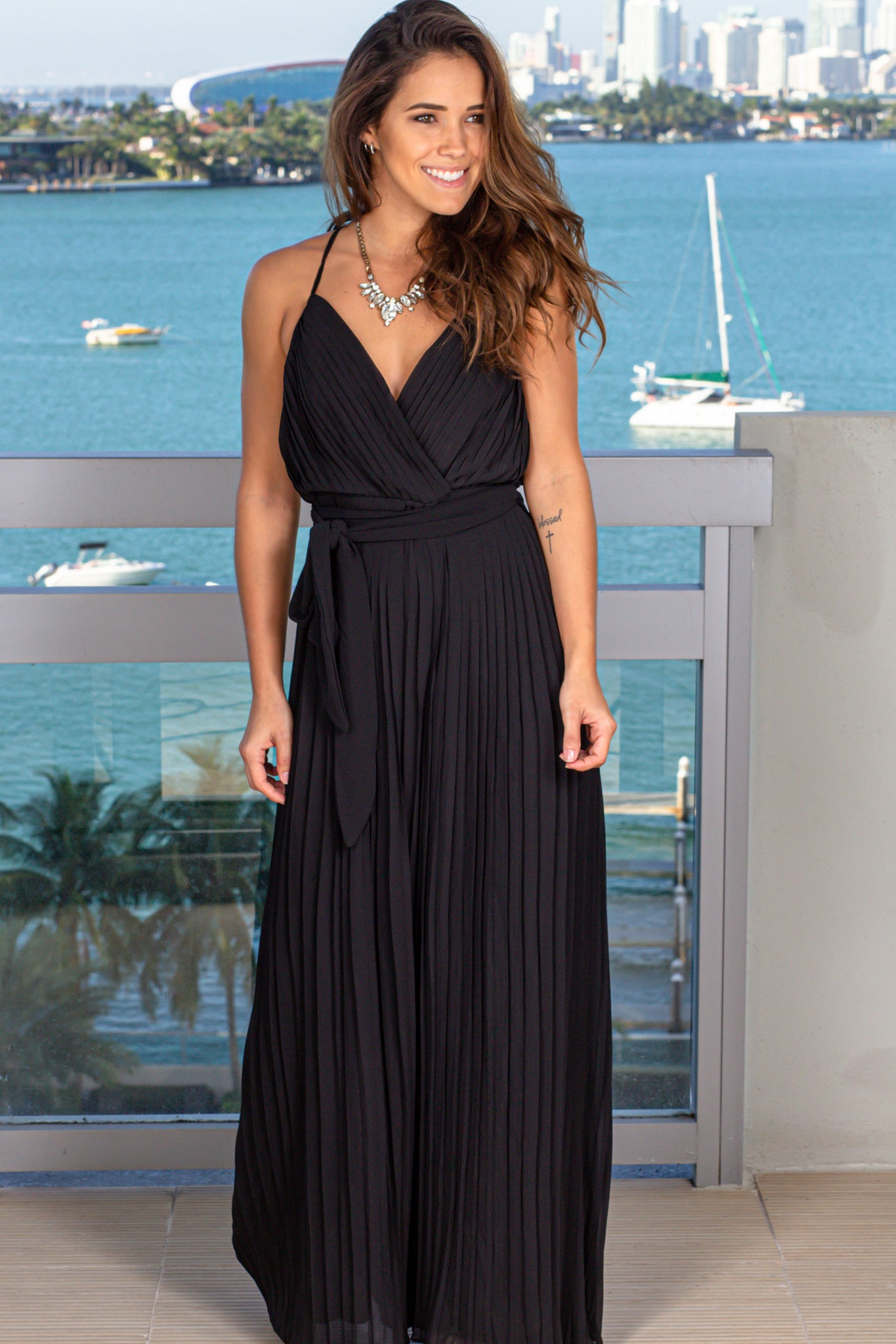 Black Pleated Jumpsuit with Tie Waist