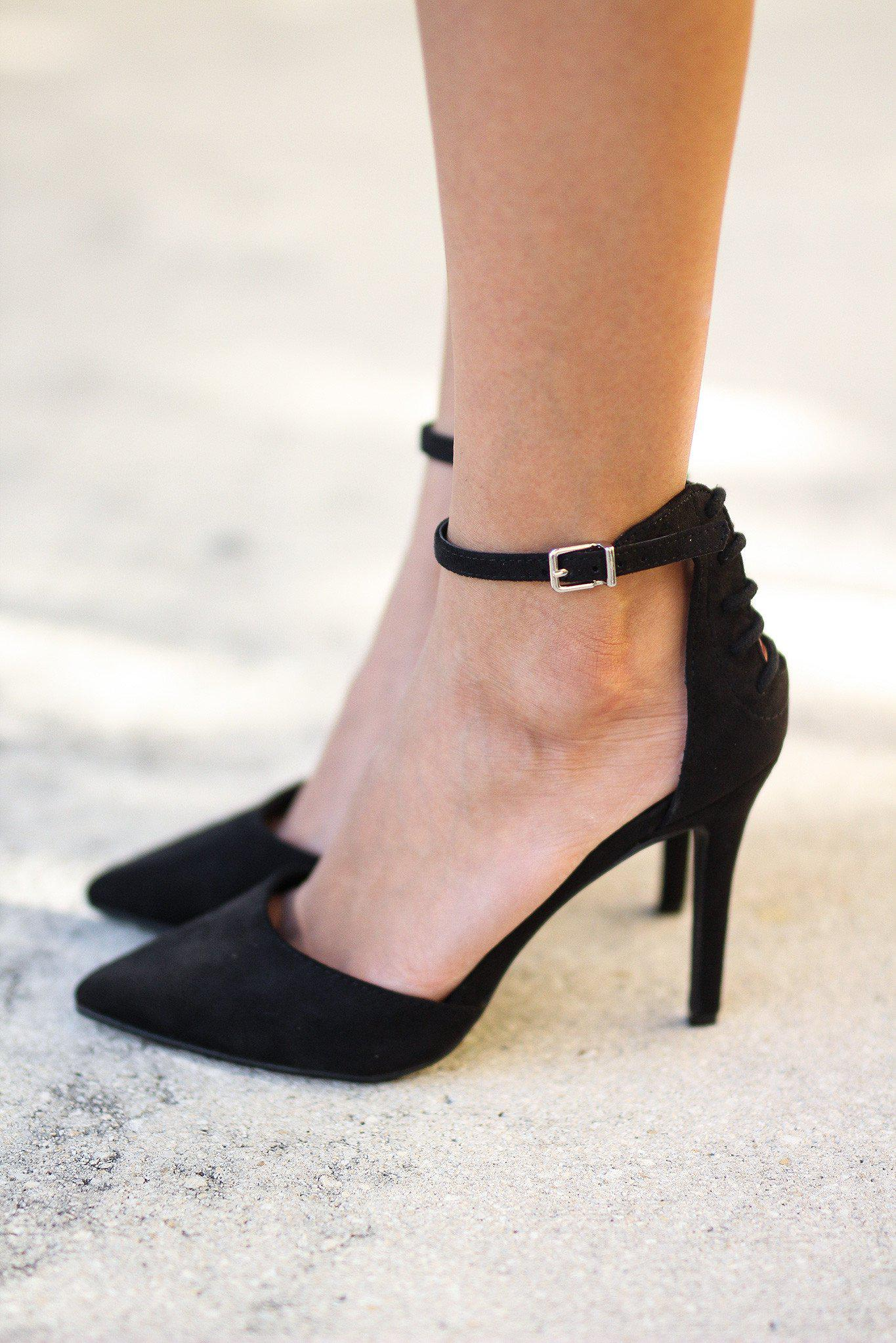 Black Pointed Toe Pump with Ankle Strap
