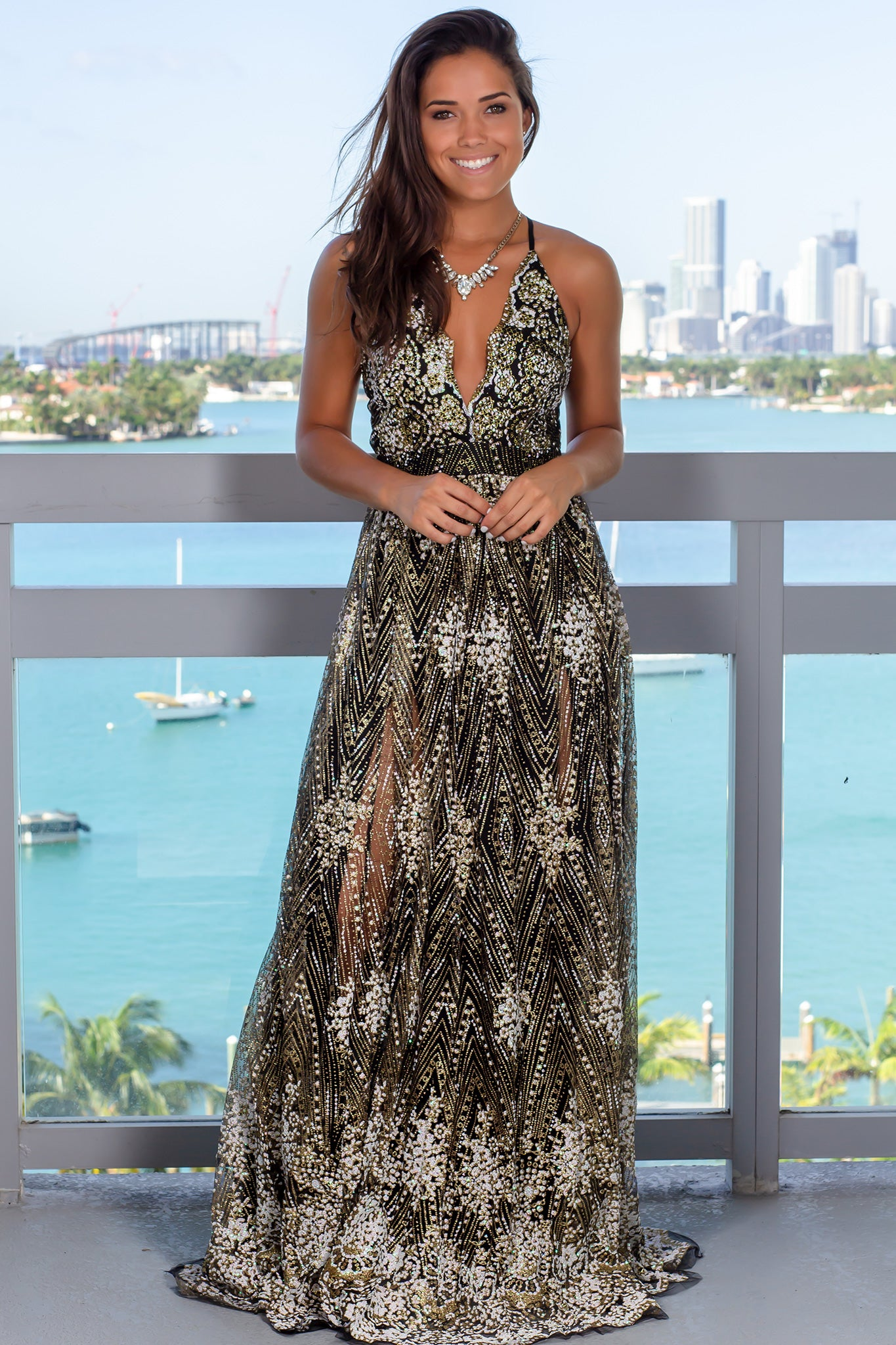 Black Printed Maxi Dress with Criss Cross Back