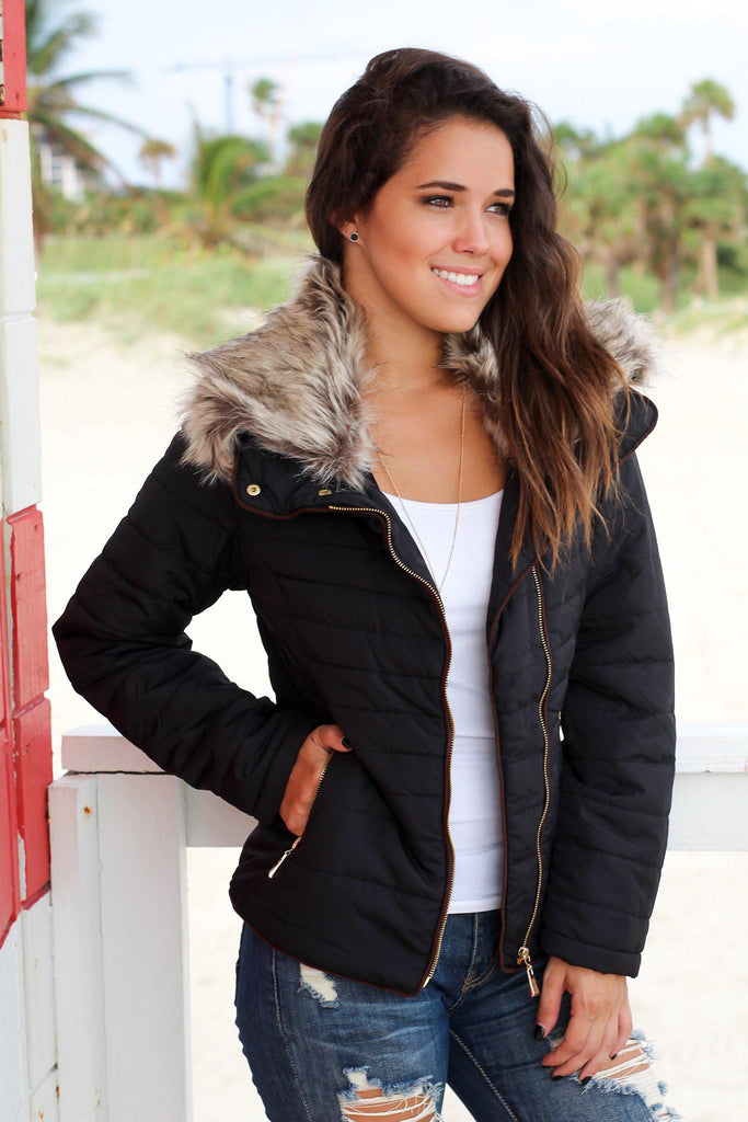 Black Quilted Jacket with Side Zipper