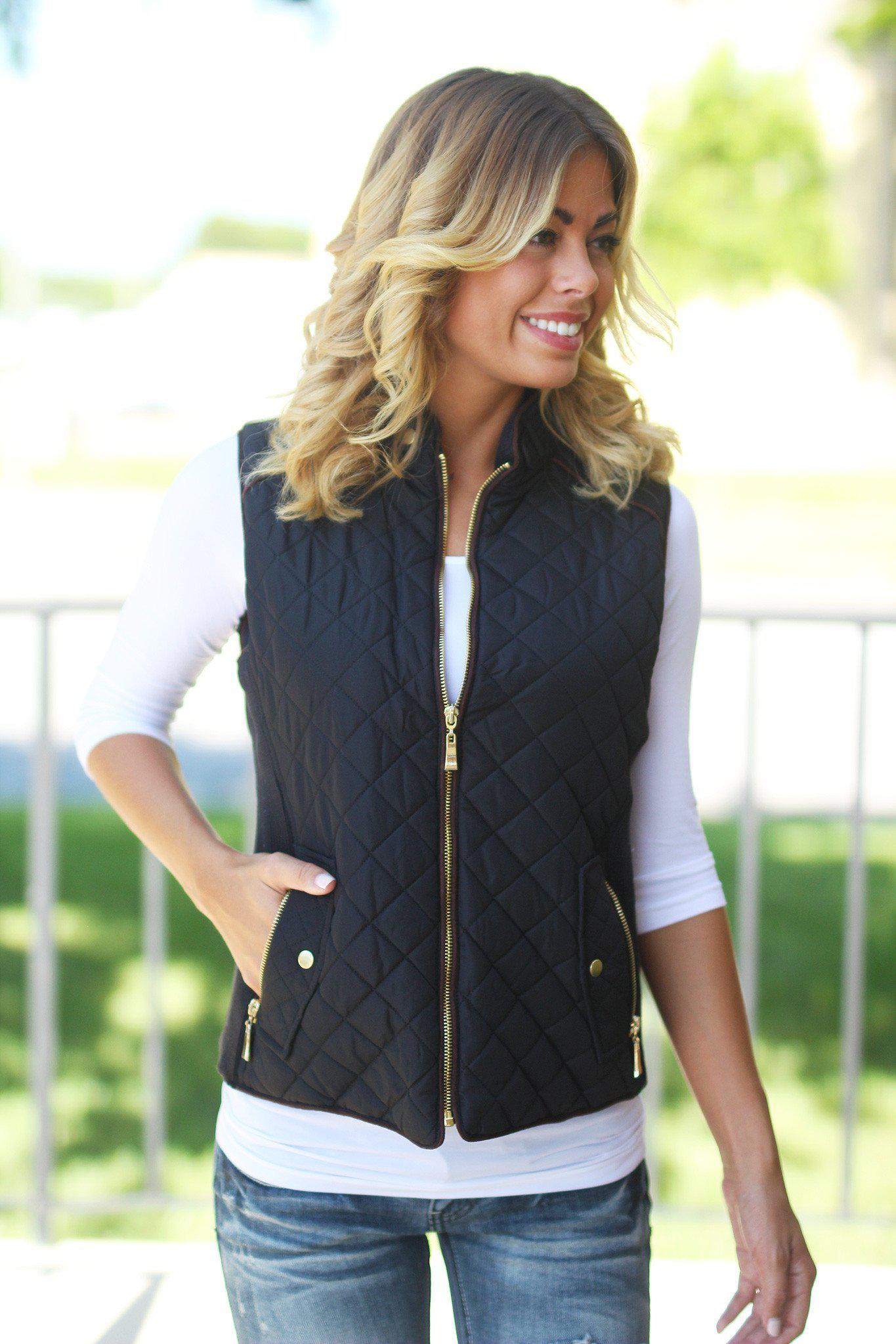 Black Quilted Vest wit Pockets
