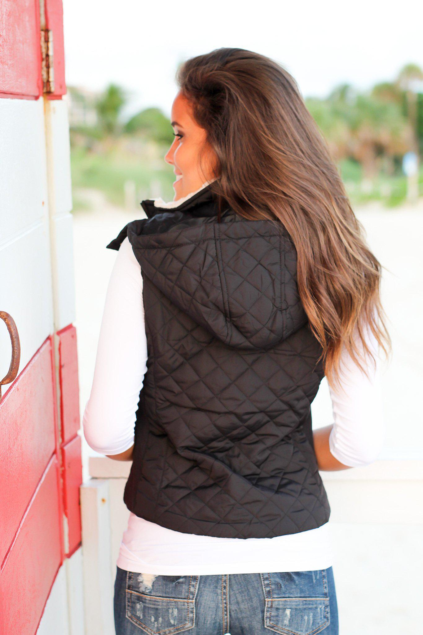 Black Quilted Vest with Fur Collar
