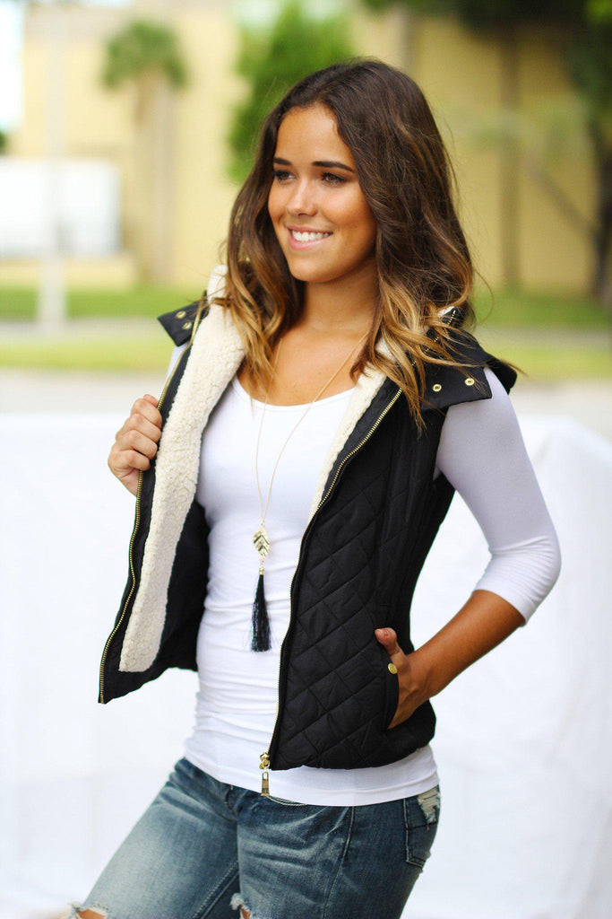 Black Quilted Vest with Hood