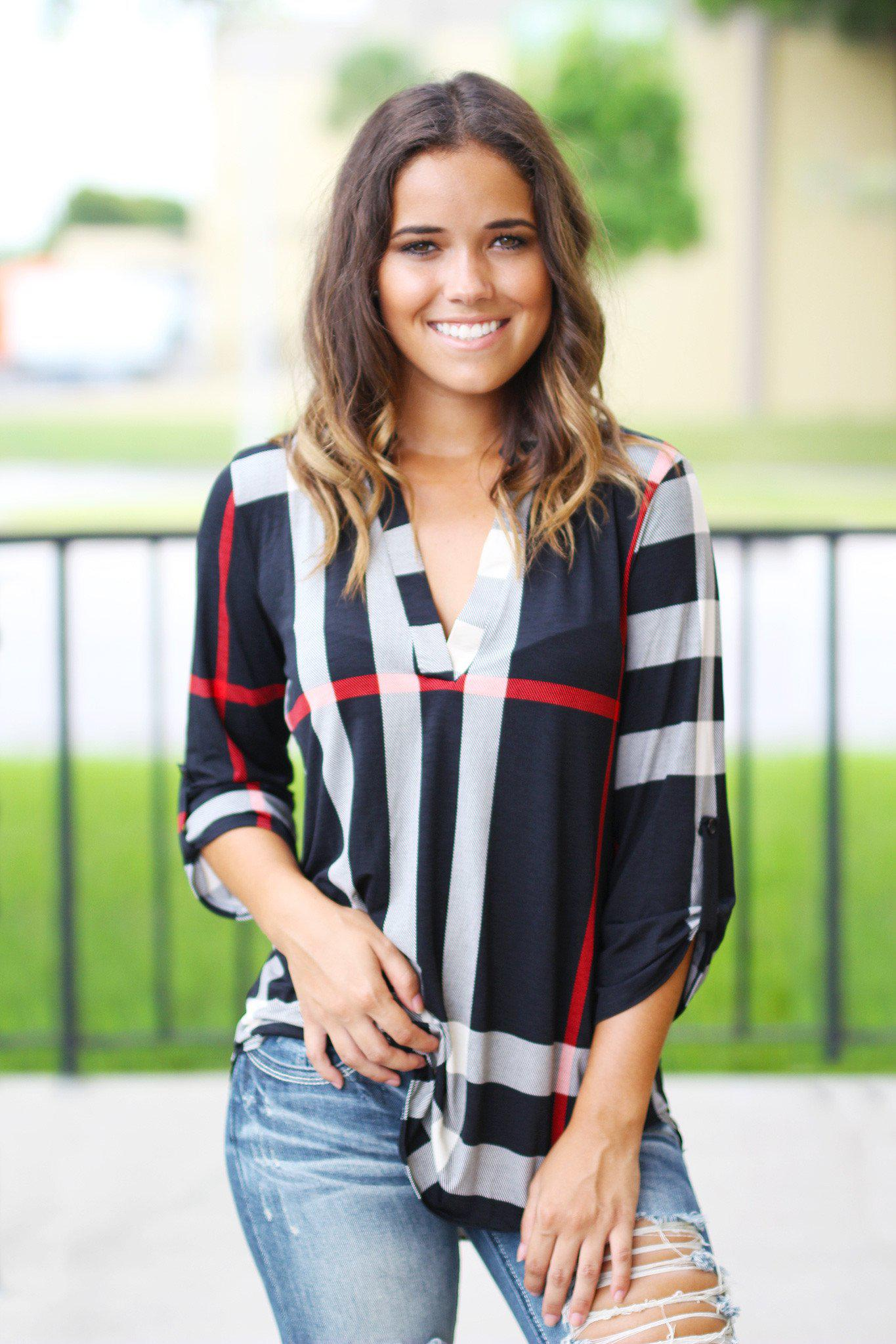 multi color check print top