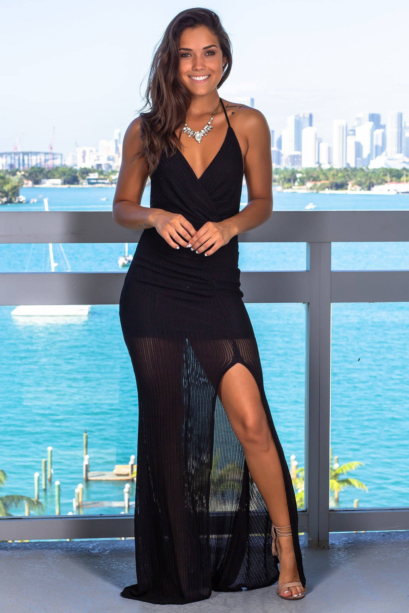 Black Ribbed Halter Neck Maxi Dress